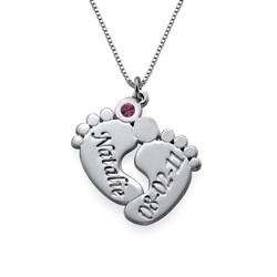 Engraved Baby Feet Necklace product photo