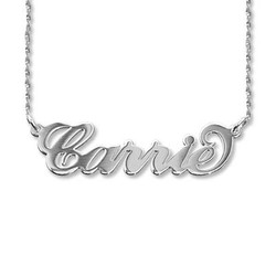 14ct White Gold Carrie Name Necklace - Twist Chain product photo