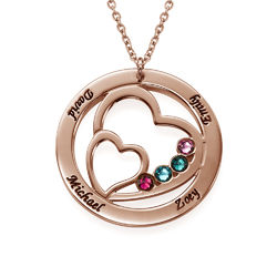 Heart in Heart Birthstone Necklace for Mums - Rose Gold Plating product photo
