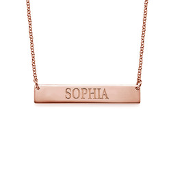 18ct Plated Rose Gold Bar Necklace with Engraving product photo