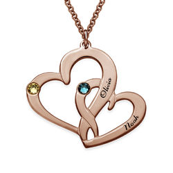 Engraved Two Heart Necklace with Rose Gold Plating product photo