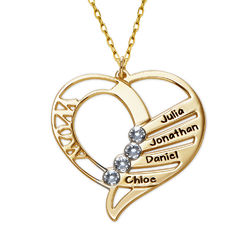 Engraved Mum Birthstone Necklace in 10ct Yellow Gold product photo