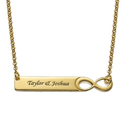 Infinity Bar Necklace with Engraving - 18ct Gold Plated product photo