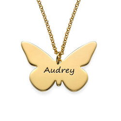 Engraved 18ct Gold Plated Pendant - Butterfly product photo
