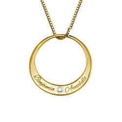 Circle Gold Plated Necklace with Diamond product photo