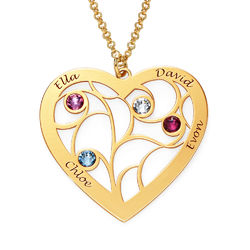 Heart Family Tree Necklace with Birthstones in Gold Vermeil product photo
