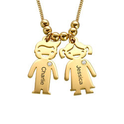 Kids Charms Mother Necklace in Gold Plating with Diamond product photo