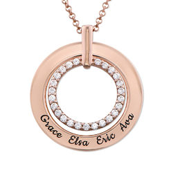 Engraved Circle Necklace in Rose Gold Plating product photo