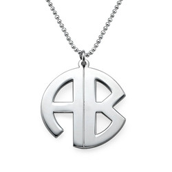 Personalised Silver Print Monogram Necklace product photo
