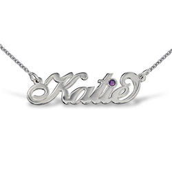 Silver Carrie Style Birthstone Name Necklace product photo