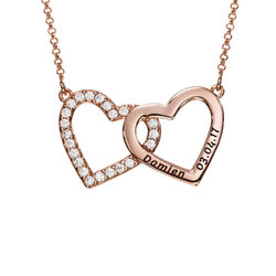 Engraved Double Heart Necklace in Rose Gold Plating product photo