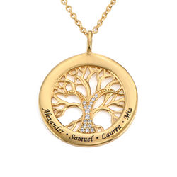 Family Tree Circle Necklace with Cubic Zirconia in Gold Vermeil product photo