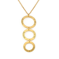 Engraved 3 Circles Necklace in Gold Plating product photo