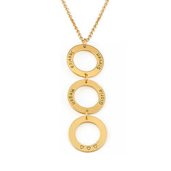 Personalised Vertical Hanging 3 Circles Necklace in Gold Plating product photo