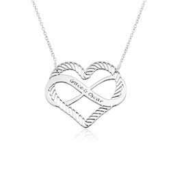 Engraved Heart Infinity Necklace in Sterling Silver product photo
