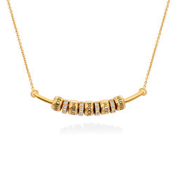 Smile Bar Necklace with Custom Beads in Gold Vermeil product photo