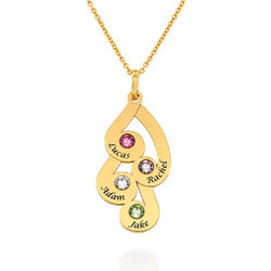 Engraved Family Pendant Necklace with Birthstones in Gold Plating product photo