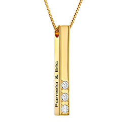 Vertical 3D Bar Necklace in Gold Plating with 1-3 Lab Diamonds product photo