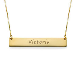 Engraved Bar Necklace in 10ct Gold product photo