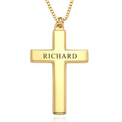 Men's Engraved Cross Necklace in 18k Gold Plating product photo