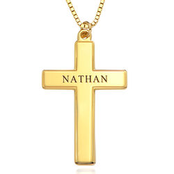 Men's Engraved Cross Necklace in 18k Gold Vermeil product photo