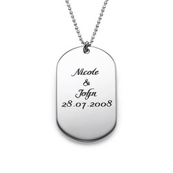 Silver Script Font Dog Tag Necklace product photo