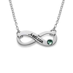 Birthstone Infinity Necklace with Engraving product photo