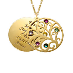 Filigree Family Tree Birthstone Necklace - Gold Plated product photo