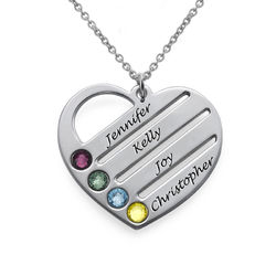 Birthstone Heart Pendant with Engraved Names product photo