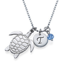 Turtle Necklace with Initial and Birthstone product photo