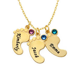 Mum Jewellery - Baby Feet Necklace In 10ct Yellow Gold product photo