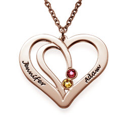 Engraved Couple Birthstone Necklace - Rose Gold Plated product photo