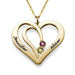 Engraved Couples Birthstone Necklace in 10ct Solid Gold product photo