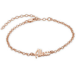 Ankle Bracelet with Name in Rose Gold Plating product photo
