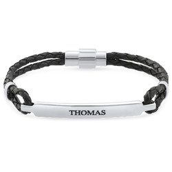 ID Bracelet for Men in Stainless Steel and Black Leather product photo