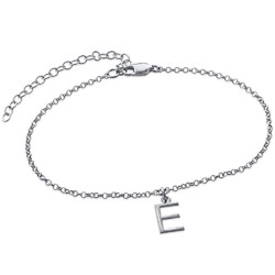Ankle Bracelet with Initial in Silver product photo