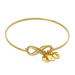 Infinity Bangle Bracelet with Initial Charms in Gold Plating product photo