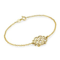 18ct Gold Plated Silver Monogram Bracelet / Anklet product photo