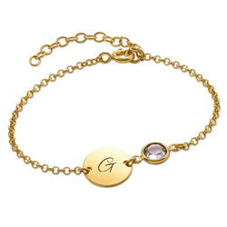 Initial Bracelet with Birthstone in Gold Plating product photo