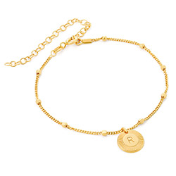 Mini Rayos Initial Bracelet / Anklet in 18ct Gold Plating product photo