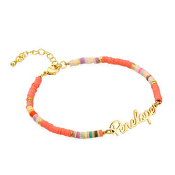 Gold Bead Name Bracelet in Gold Plating product photo