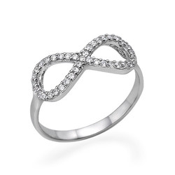 Silver Cubic Zirconia Encrusted Infinity Ring product photo