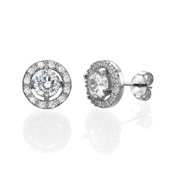 Round Cubic Zirconia Stud Earrings product photo
