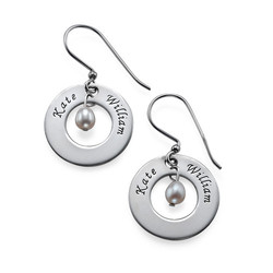 Personalised Earrings with Two Names & Birthstone product photo