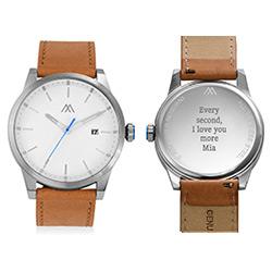 Odysseus Day Date Minimalist Camel Leather Band Watch product photo