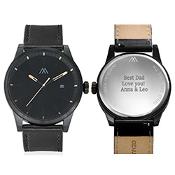 Odysseus Day Date Minimalist Leather Strap Watch in Black product photo
