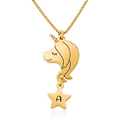 Girls Unicorn Necklace in 18k Gold Plating product photo