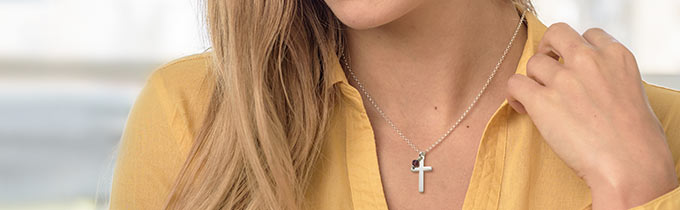 Engraved cross necklaces