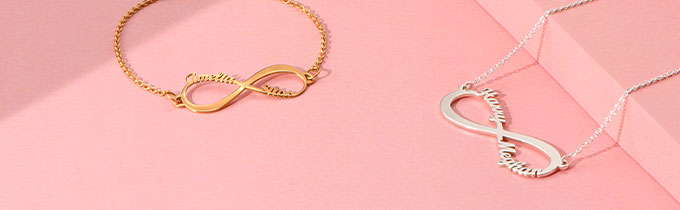 infinity name necklaces