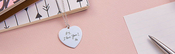 Handwriting necklaces and bracelets
